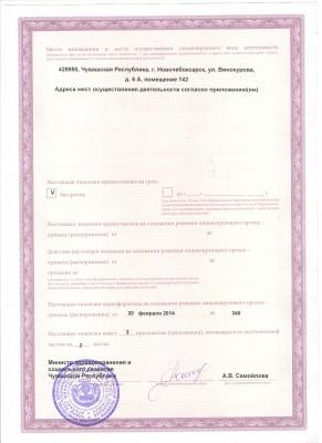 оборотная сторона лицензии от 20 февраля 2014г.