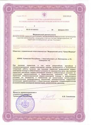 приложение к лицензии от 20 февраля 2014г.